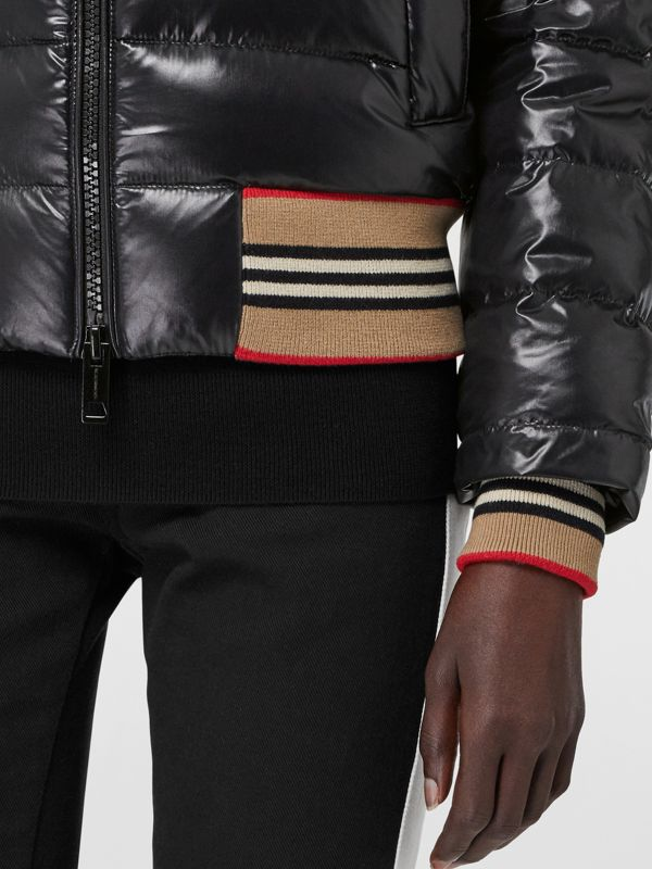 Detachable Sleeve Icon Stripe Detail Puffer Jacket in Black - Women | Burberry - cell image 3