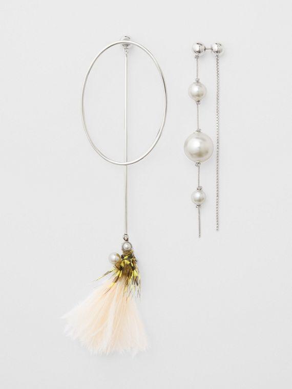 Faux Pearl and Feather Palladium-plated Drop Earrings in Palladio/limestone