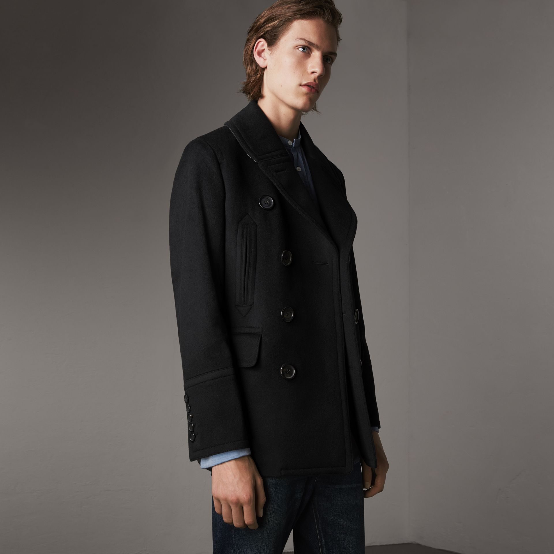 Wool Cashmere Pea Coat in Black - Men | Burberry - gallery image 0