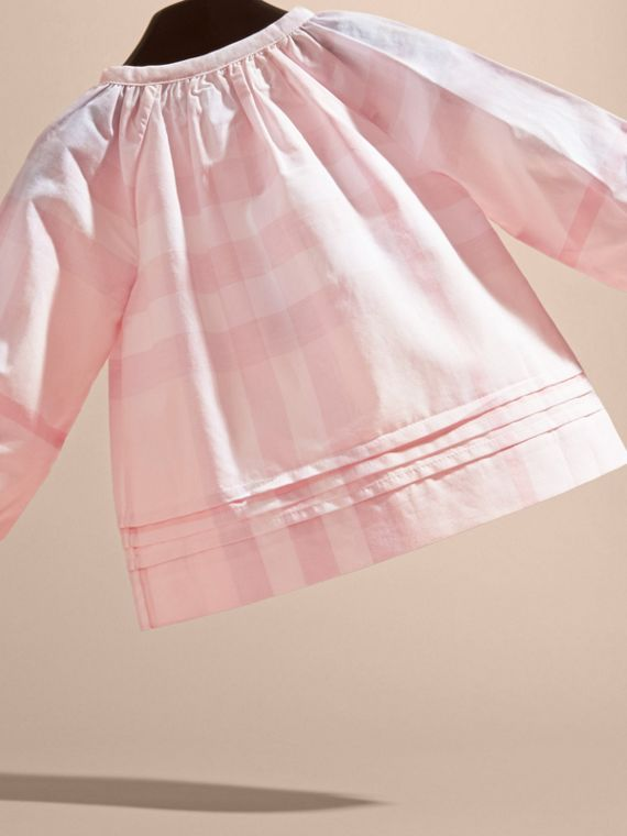 Ice pink Pleat Detail Check Cotton Top - cell image 3