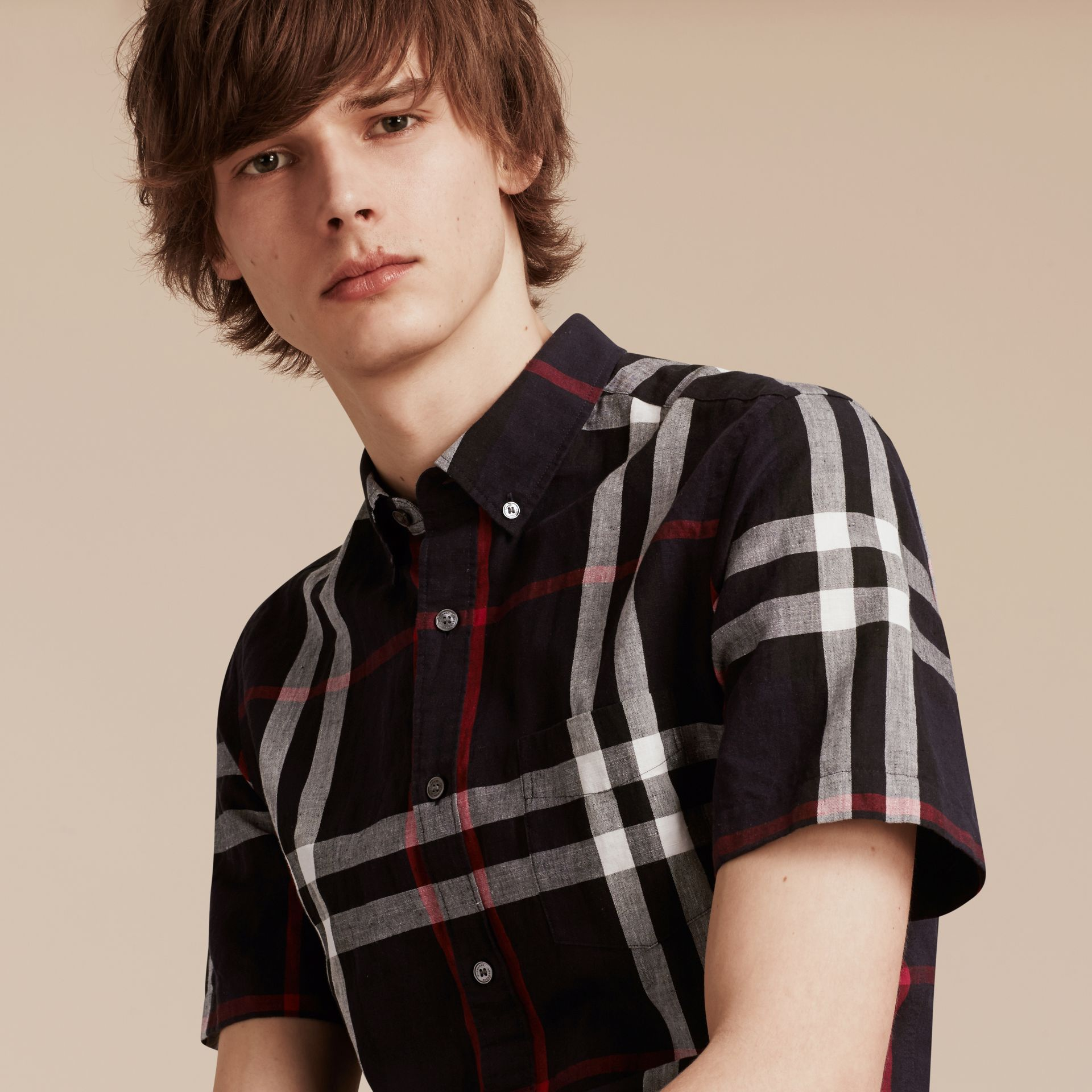 Short-sleeved Check Linen Cotton Shirt in Navy - Men | Burberry - gallery image 4