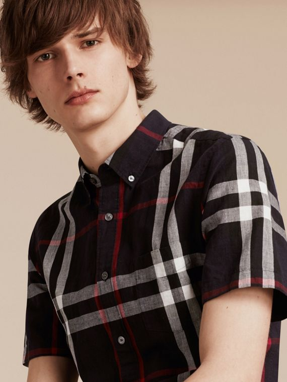 Short-sleeved Check Linen Cotton Shirt in Navy - Men | Burberry - cell image 3