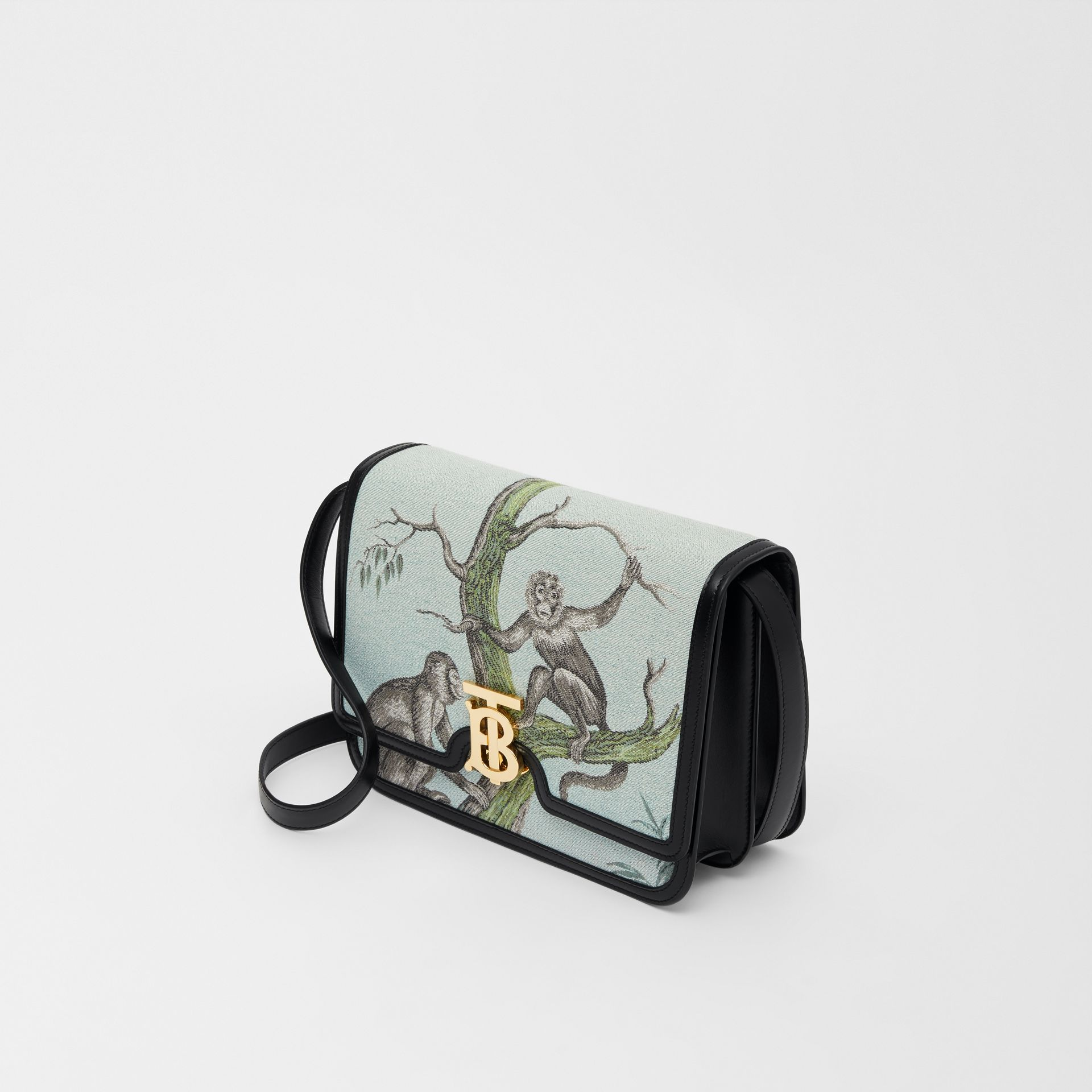Bolsa TB de couro com recorte de macacos em jacquard - Pequena (Preto/verde Opala) - Mulheres | Burberry - galeria de imagens 3