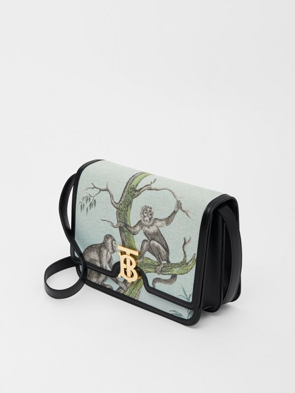 Medium Monkey Jacquard and Leather TB Bag in Black/opal Green - Women | Burberry United States - cell image 3