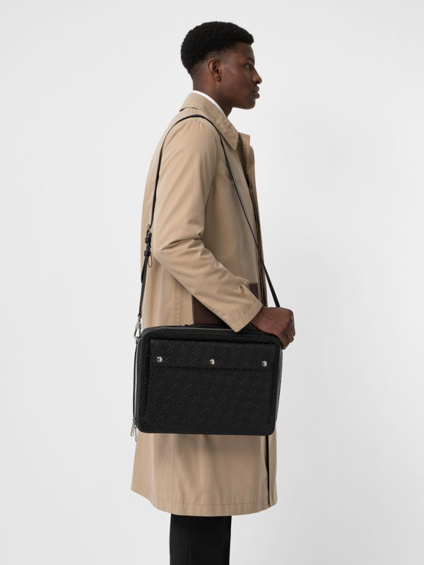 Triple Stud Monogram Leather Briefcase in Black - Men | Burberry Singapore - cell image 3