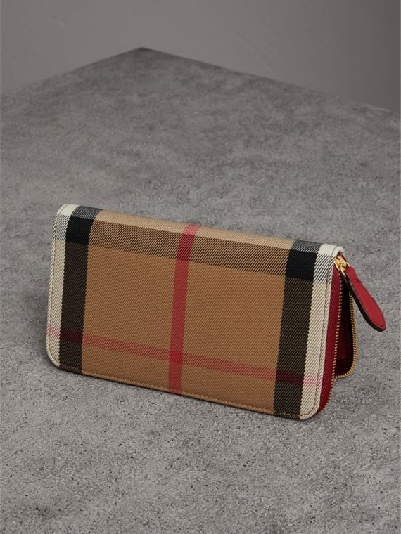 House Check and Leather Ziparound Wallet in Military Red - Women | Burberry Australia - cell image 2