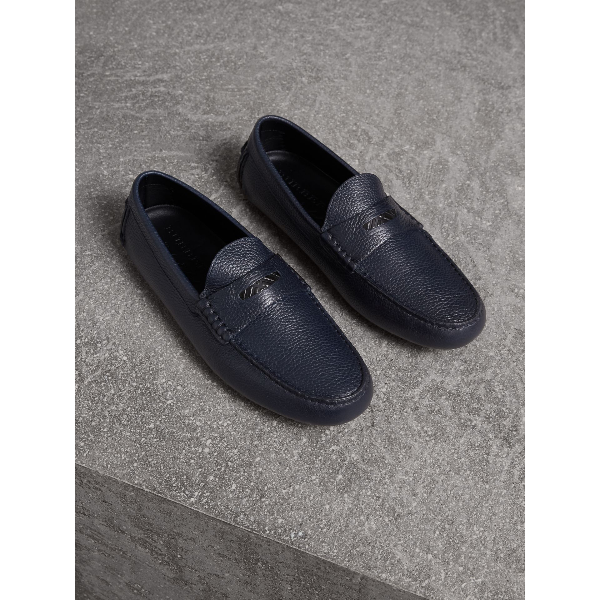Grainy Leather Loafers with Engraved Check Detail in Navy - Men | Burberry - gallery image 1