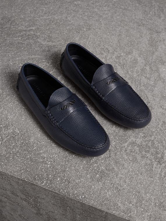 Grainy Leather Loafers with Engraved Check Detail in Navy