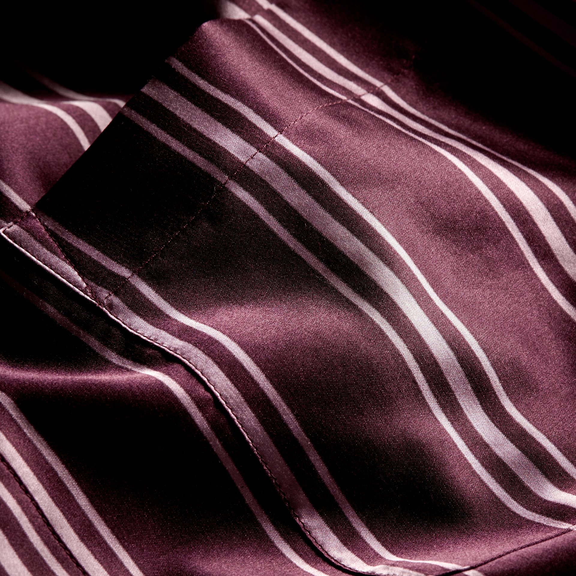 Crimson Striped Cotton Silk Collarless Shirt - gallery image 2