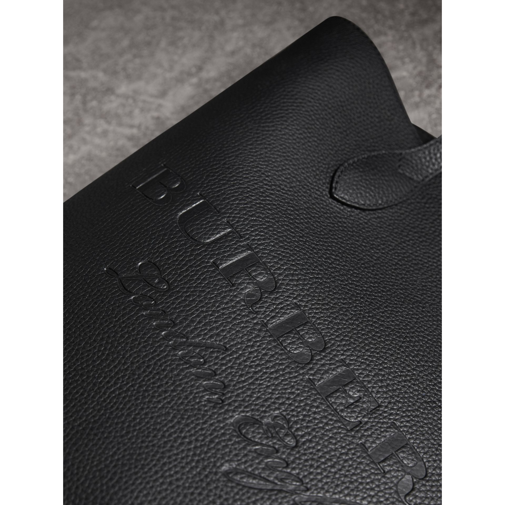 Medium Embossed Leather Tote Bag in Black | Burberry - gallery image 2