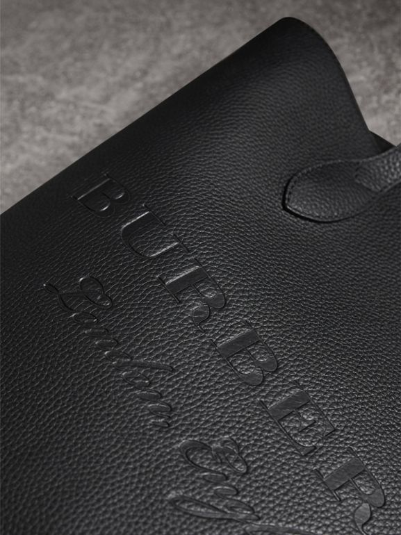 Embossed Leather Tote in Black | Burberry Australia - cell image 1