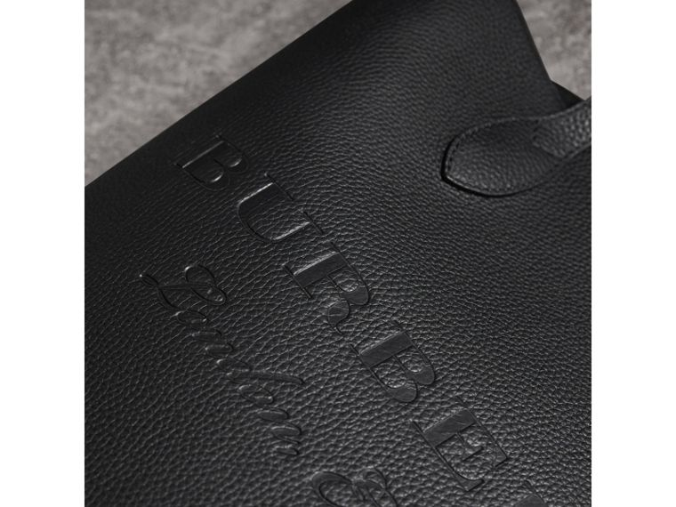 Medium Embossed Leather Tote Bag in Black | Burberry - cell image 1