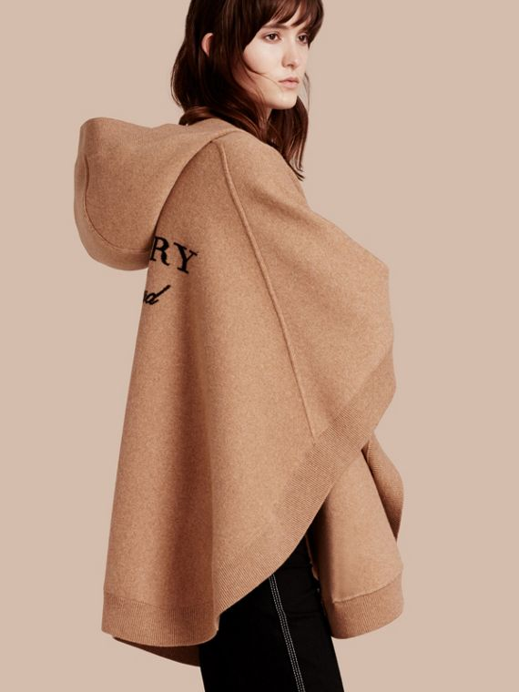 Wool Cashmere Blend Hooded Poncho Camel