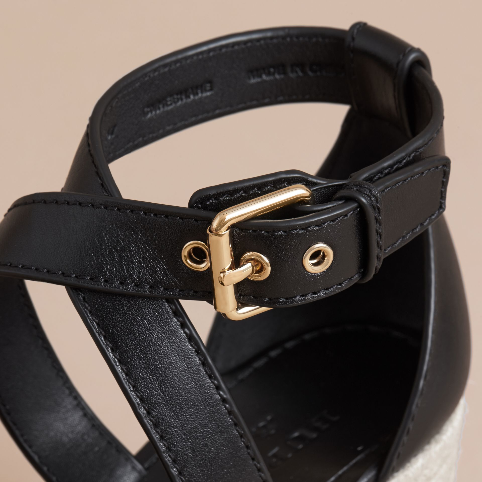 Leather and House Check Platform Espadrille Wedge Sandals in Black - Women | Burberry Singapore - gallery image 2