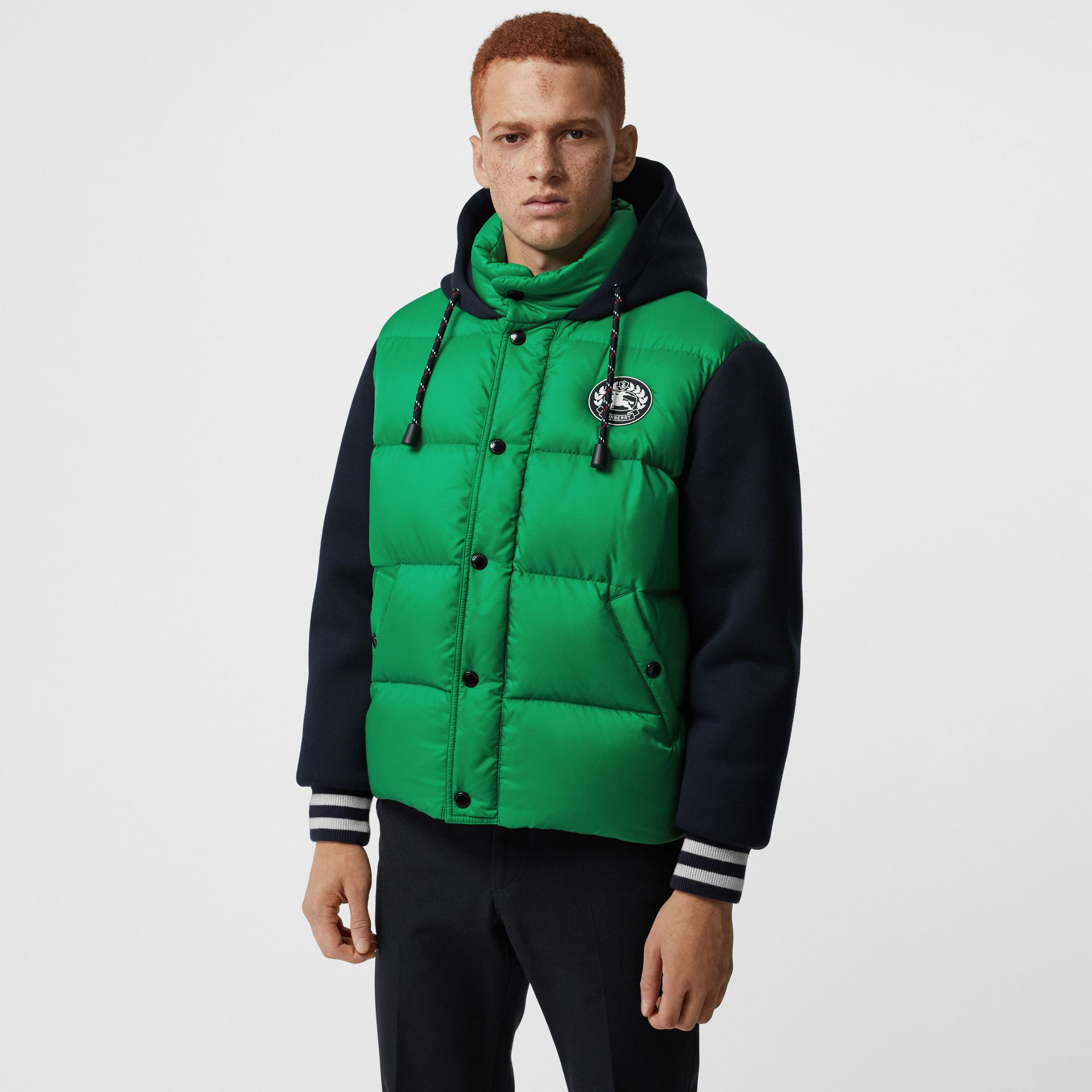 Neoprene Down-filled Hooded Jacket in Vibrant Green - Men | Burberry - gallery image 4