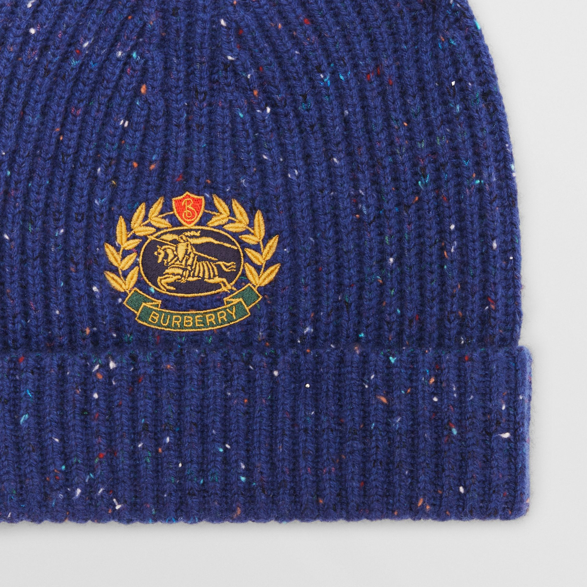 Embroidered Archive Logo Wool Blend Beanie in Navy | Burberry - gallery image 1