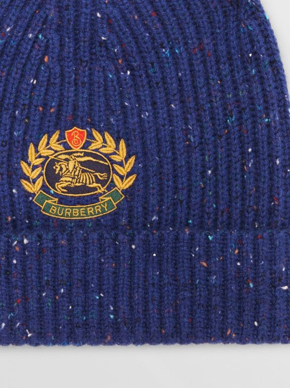 Embroidered Archive Logo Wool Blend Beanie in Navy | Burberry - cell image 1