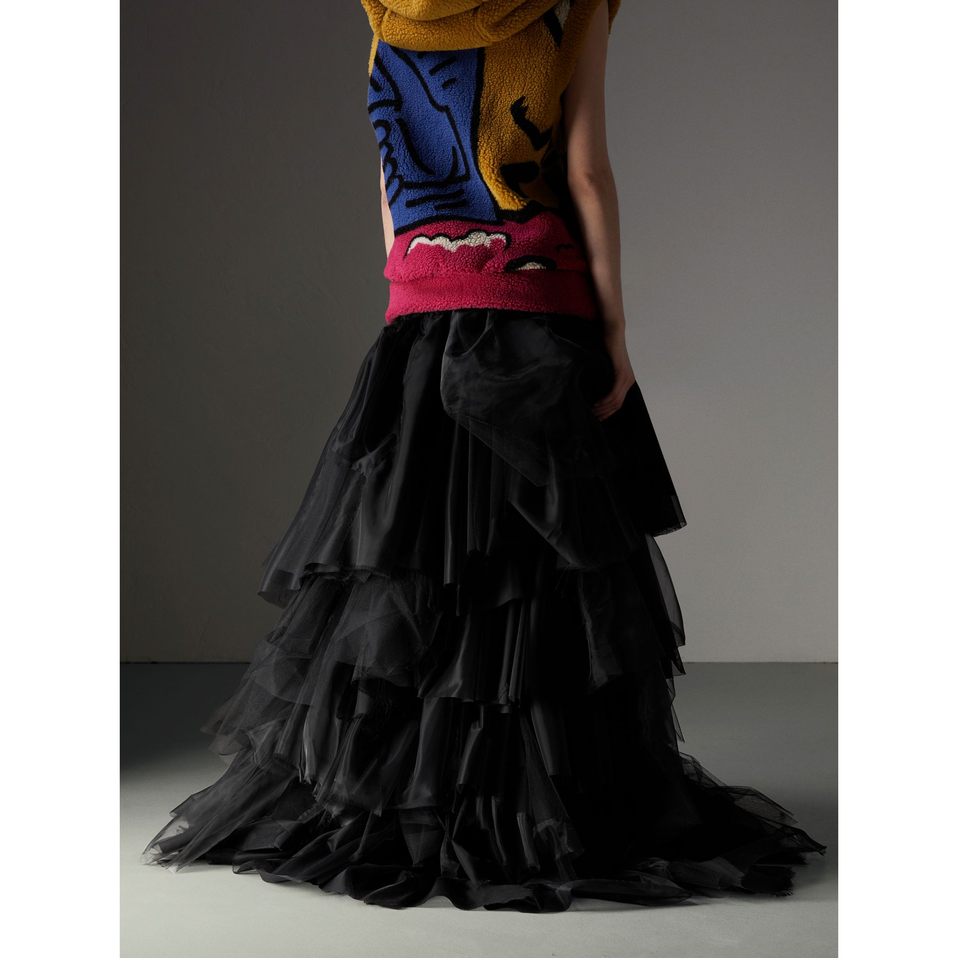 Organza and Tulle Tiered Maxi Skirt in Black - Women | Burberry Australia - gallery image 2