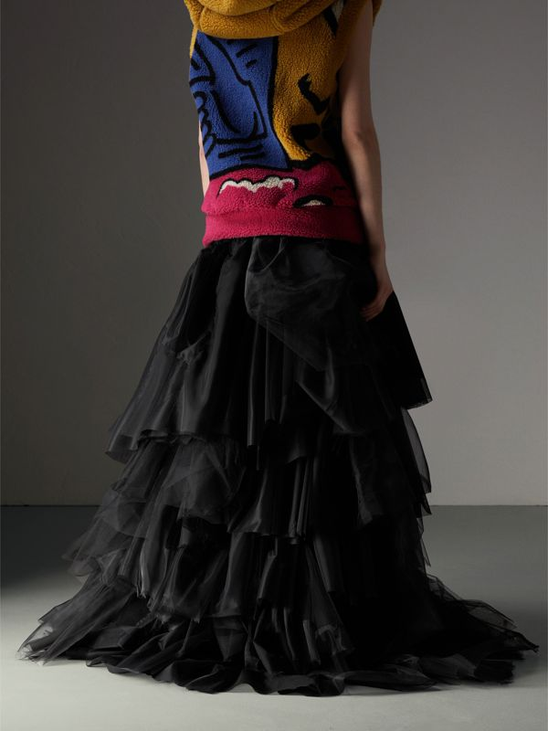 Organza and Tulle Tiered Maxi Skirt in Black - Women | Burberry Australia - cell image 2