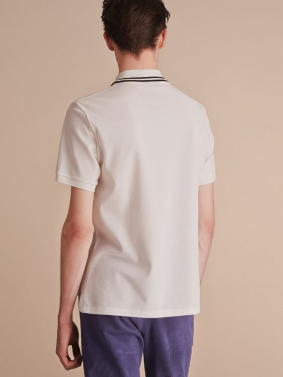 Striped Collar Cotton Piqué Polo Shirt in White - Men | Burberry - cell image 2