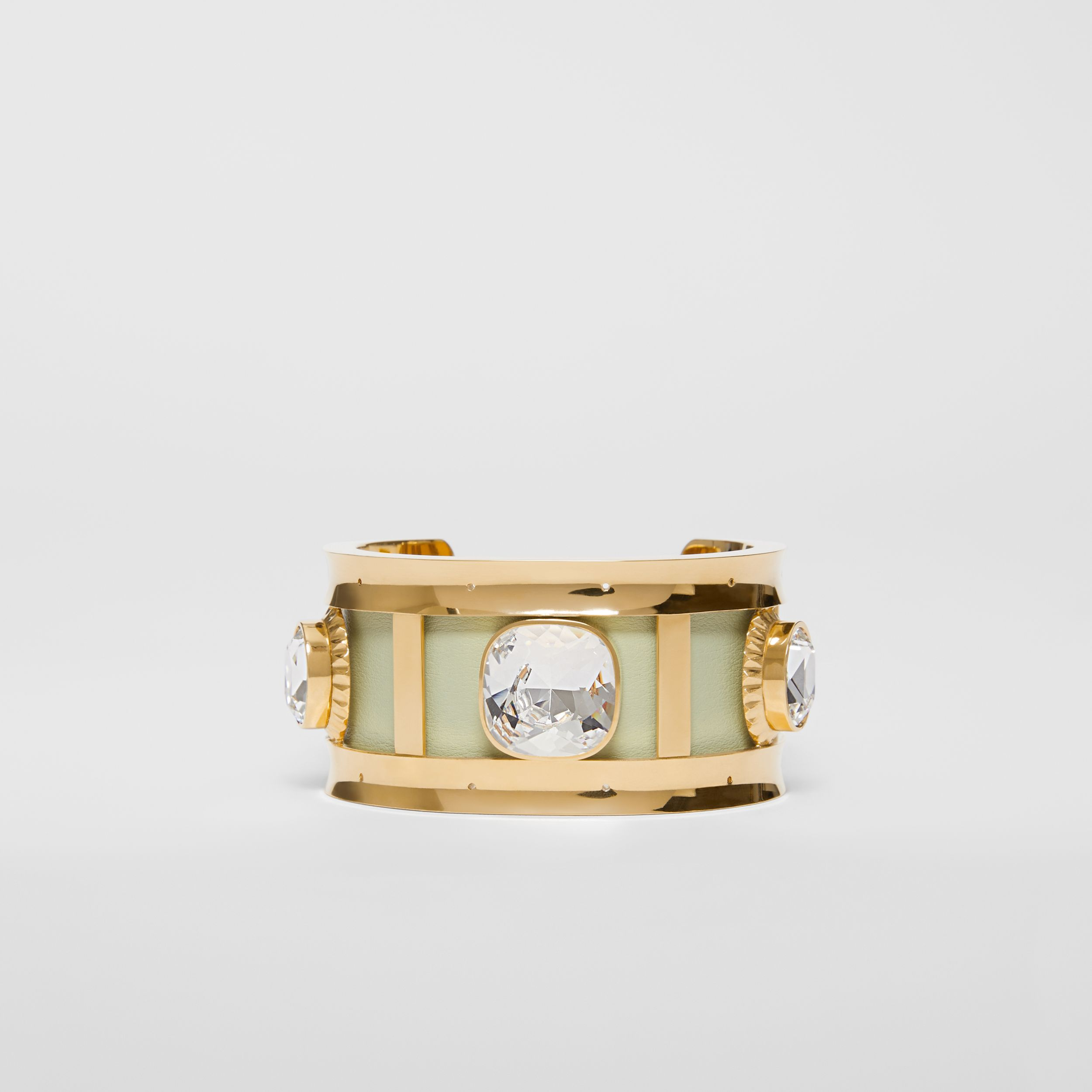 Crystal Detail Lambskin and Gold-plated Cuff in Pistachio/gold | Burberry - 1
