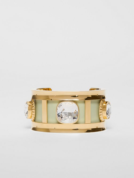 Crystal Detail Lambskin and Gold-plated Cuff in Pistachio/gold