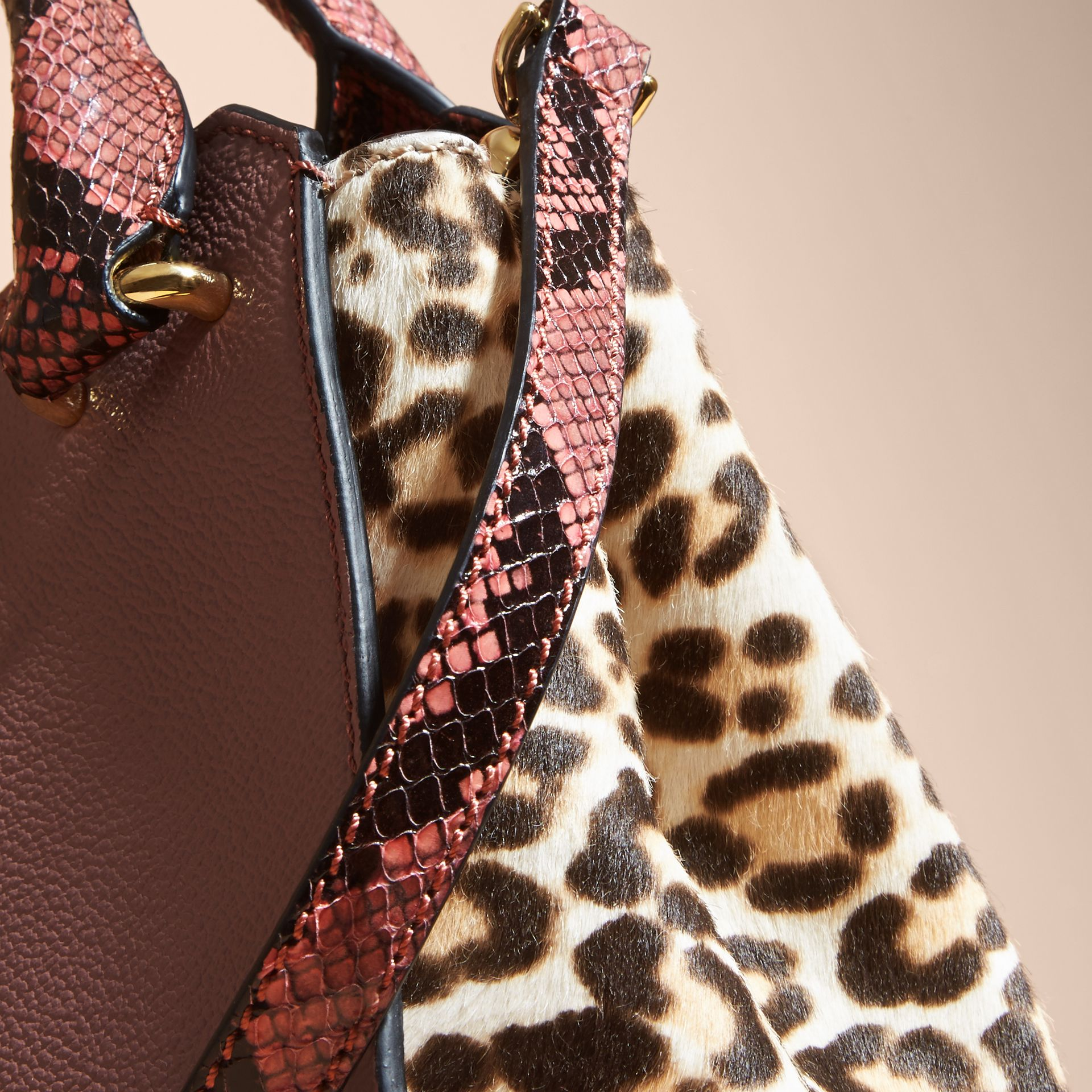 Dusty pink The Small Buckle Tote in Leather and  Leopard-print Calfskin Dusty Pink - gallery image 7