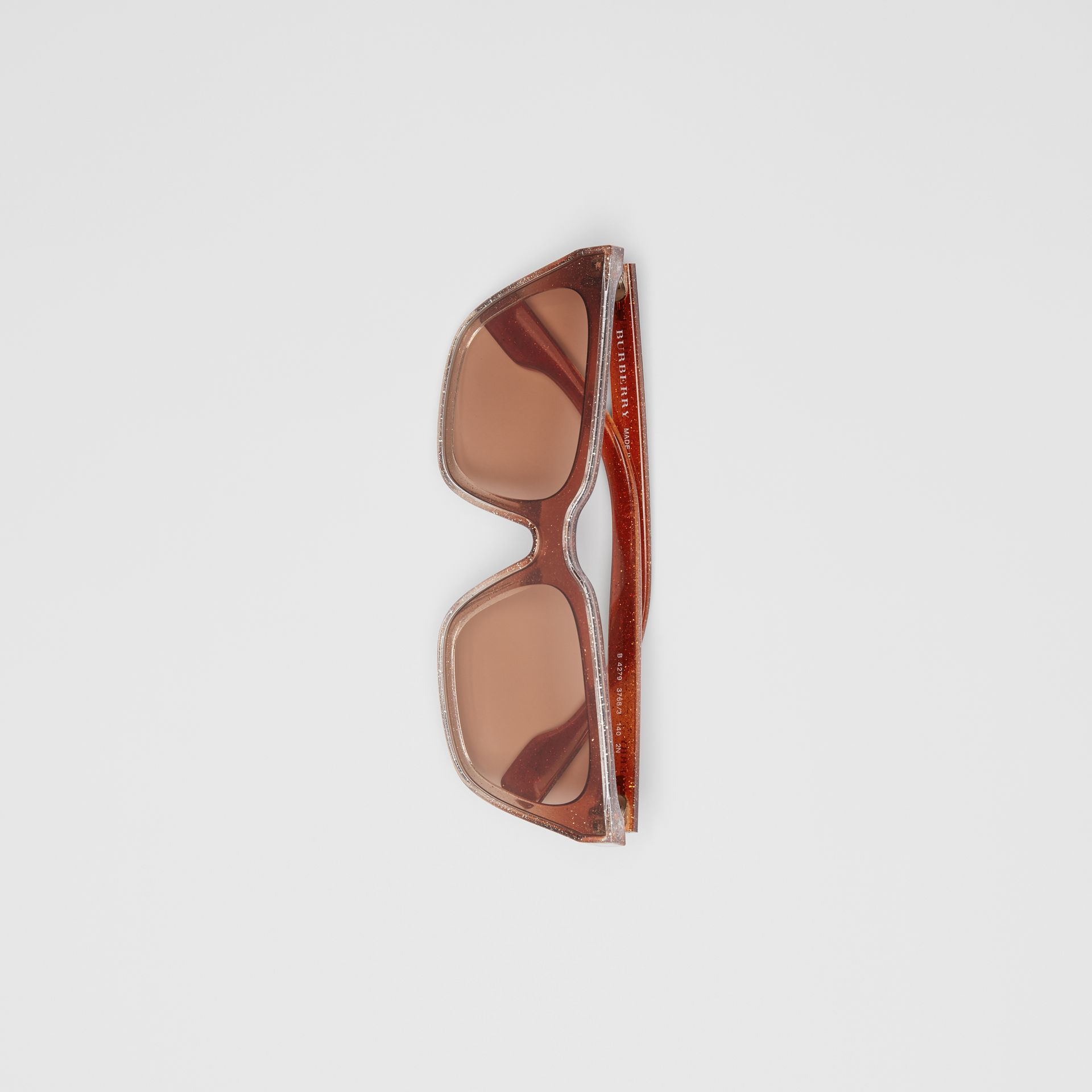 Glitter Detail Square Frame Shield Sunglasses in Pink - Women | Burberry - gallery image 3