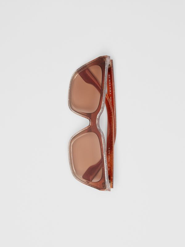 Glitter Detail Square Frame Shield Sunglasses in Pink - Women | Burberry - cell image 3