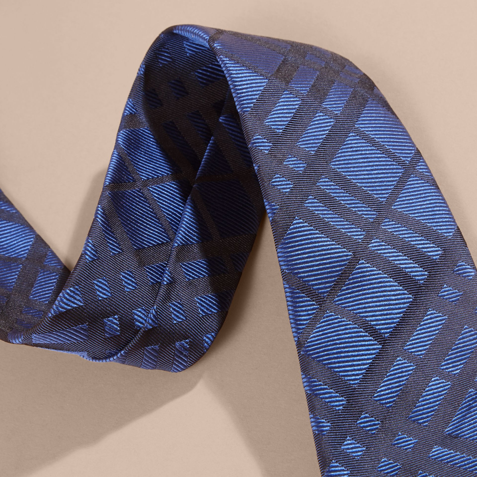 Brilliant blue Modern Cut Check Jacquard Silk TIe Brilliant Blue - gallery image 2