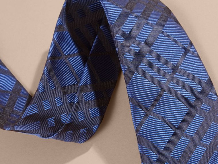 Brilliant blue Modern Cut Check Jacquard Silk TIe Brilliant Blue - cell image 1