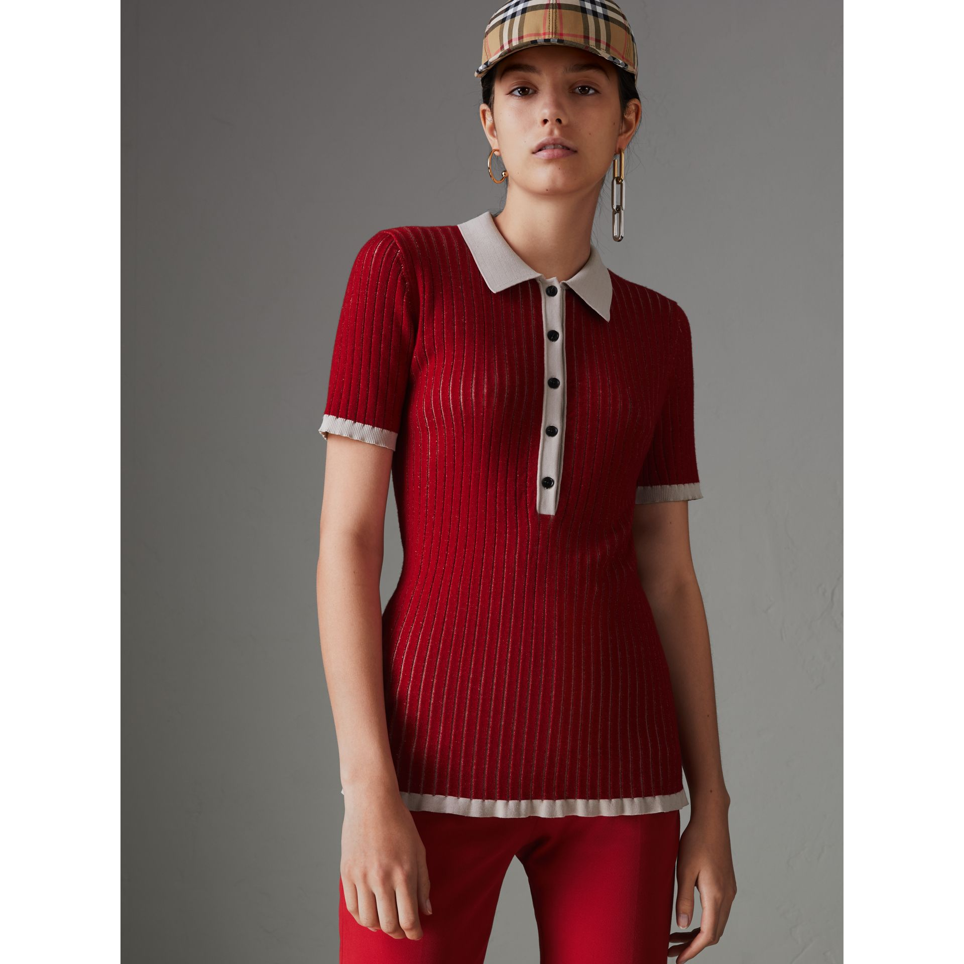 Two-tone Cashmere Silk Polo Shirt in Military Red - Women | Burberry - gallery image 4