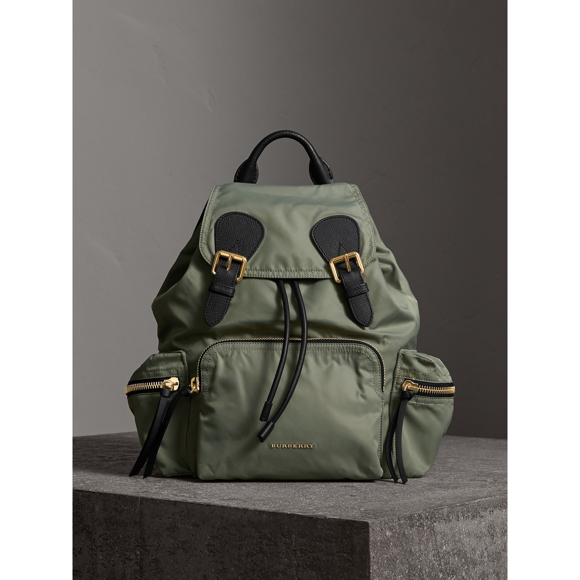 The Medium Rucksack in Technical Nylon and Leather in Thistle Grey - Women | Burberry United States - gallery image 9