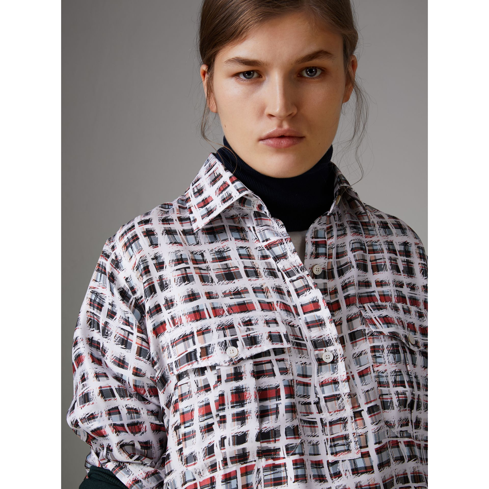 Scribble Check Silk Shirt in Cadmium Red - Women | Burberry - gallery image 1