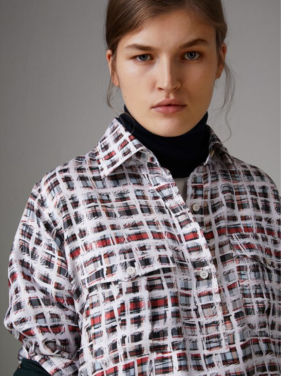 Scribble Check Silk Shirt in Cadmium Red - Women | Burberry - cell image 1