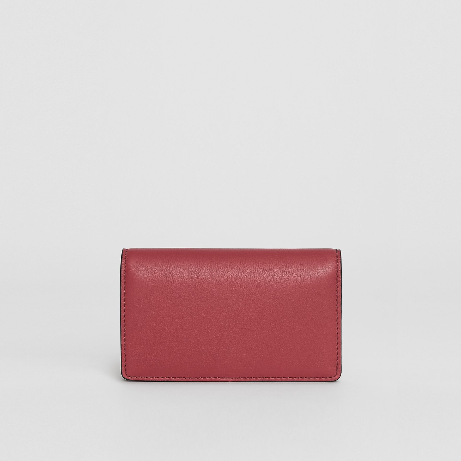 Small Embossed Crest Two-tone Leather Wallet in Crimson - Women | Burberry - gallery image 2
