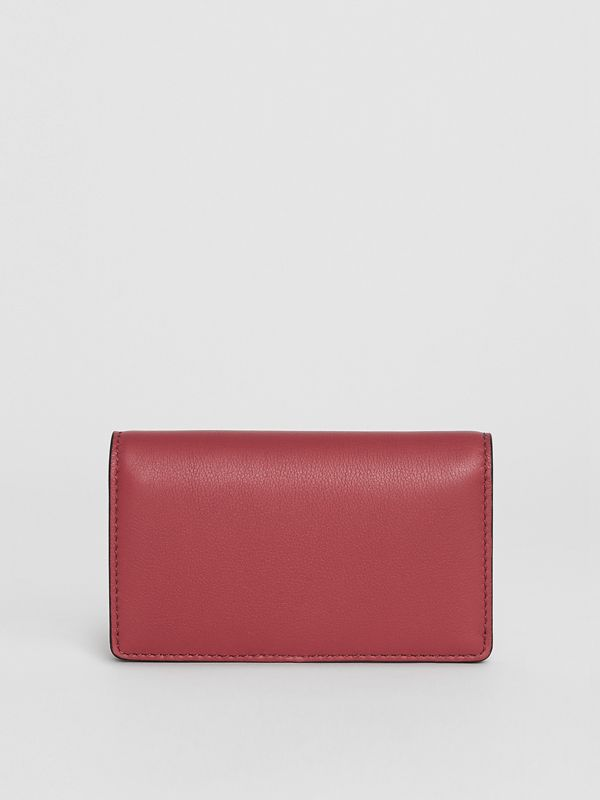 Small Embossed Crest Two-tone Leather Wallet in Crimson - Women | Burberry Hong Kong - cell image 2