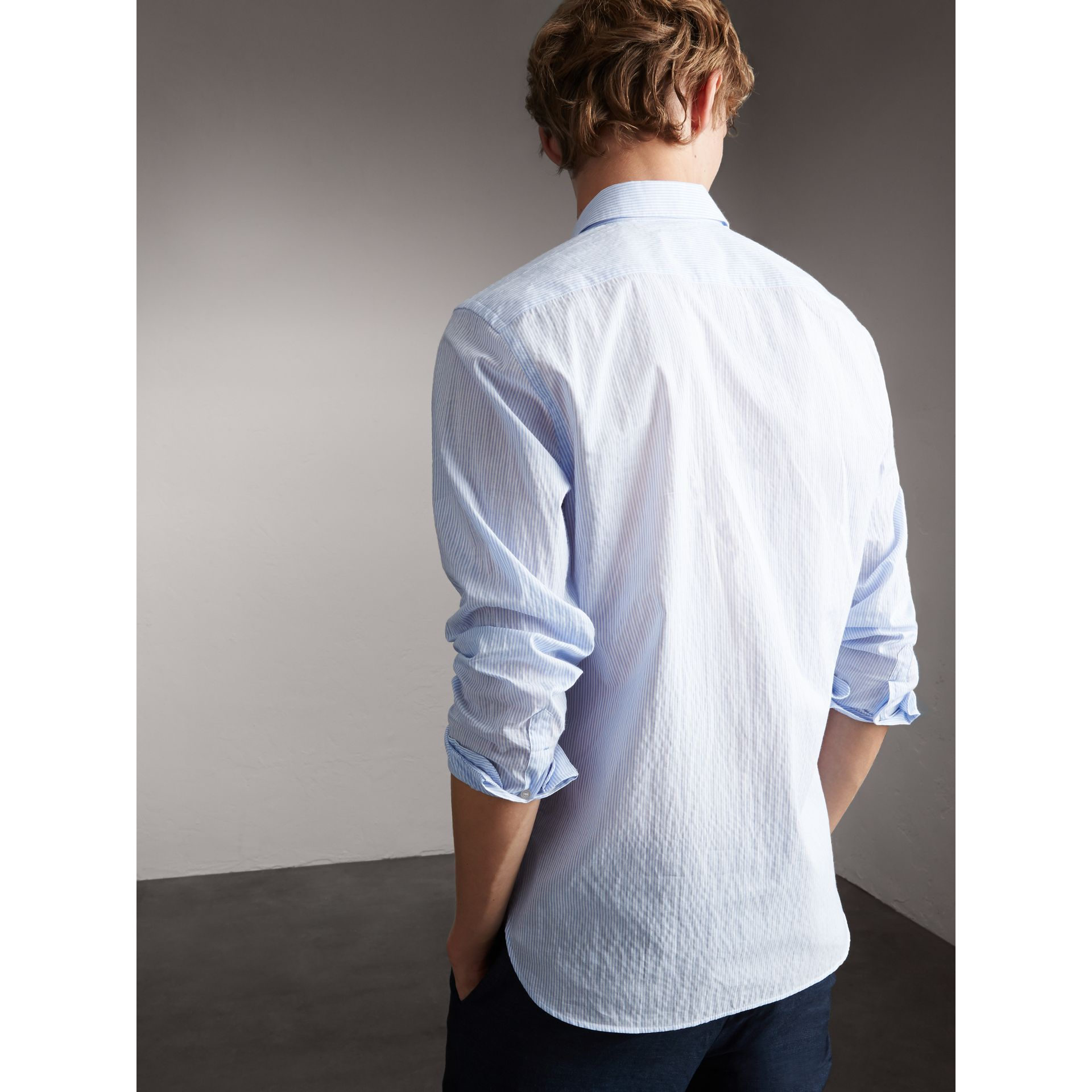Striped Cotton Blend Shirt in Light Blue - Men | Burberry - gallery image 3