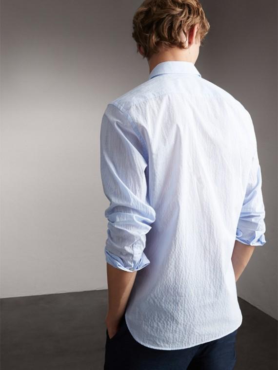 Striped Cotton Blend Shirt in Light Blue - Men | Burberry Hong Kong - cell image 2