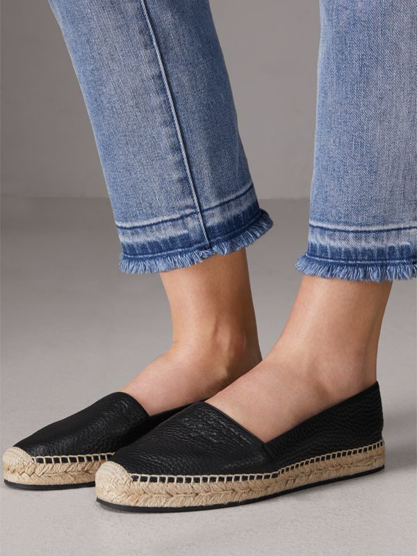 Embossed Grainy Leather Espadrilles in Black - Women | Burberry United Kingdom - cell image 2