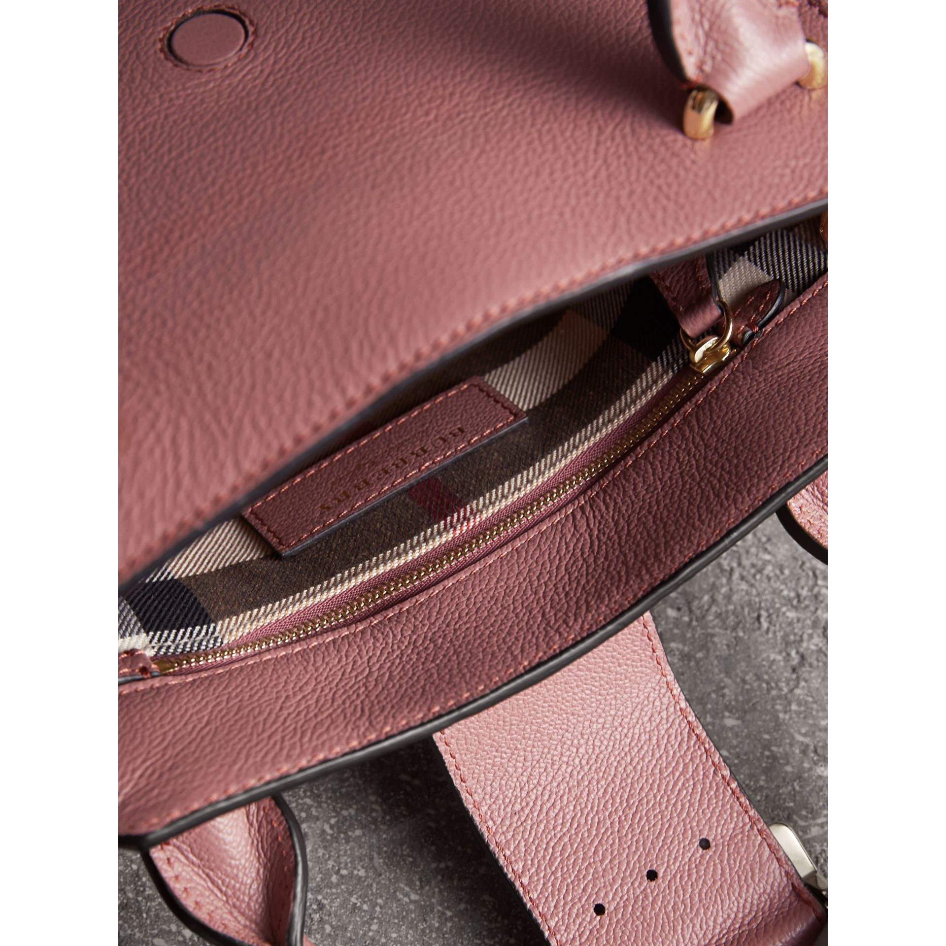 The Small Buckle Tote in Grainy Leather in Dusty Pink - gallery image 6