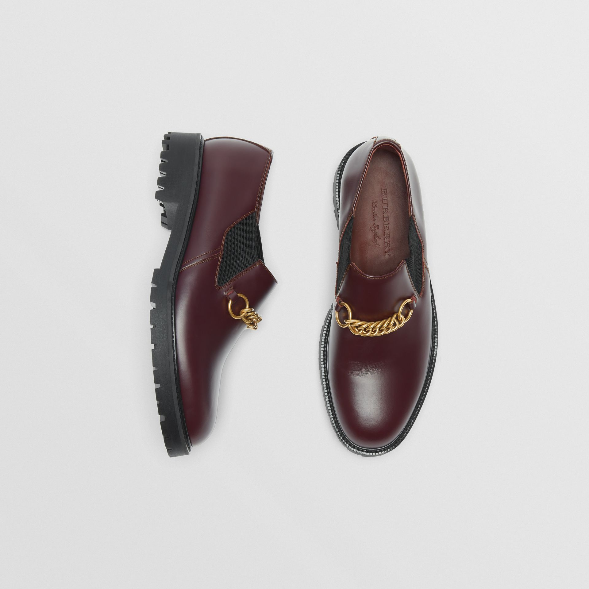 Link Detail Leather Shoe in Oxblood - Men | Burberry - gallery image 0