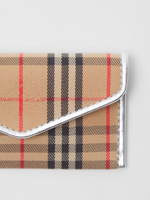1983 Check and Leather Envelope Card Case in Silver - Women | Burberry Canada - cell image 1