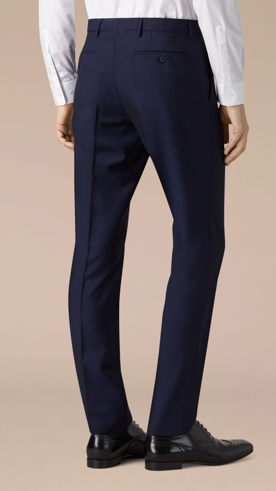 Royal navy Slim Fit Wool Mohair Trousers Royal Navy - Image 3