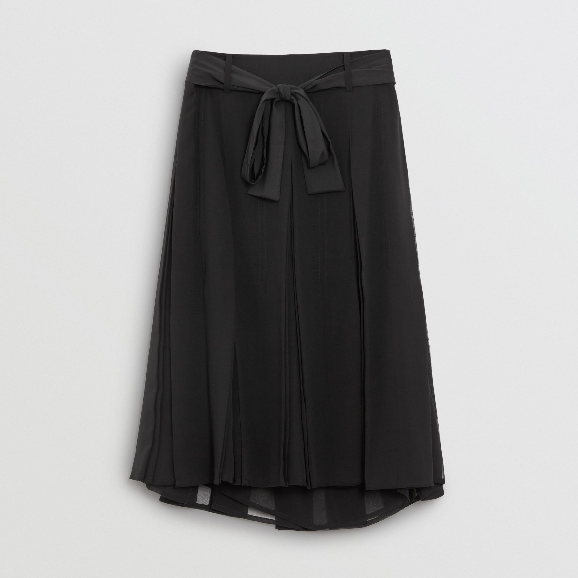 Tie-waist Pleated Georgette Skirt in Black - Women | Burberry - gallery image 3