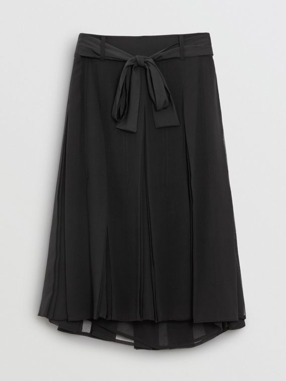 Tie-waist Pleated Georgette Skirt in Black