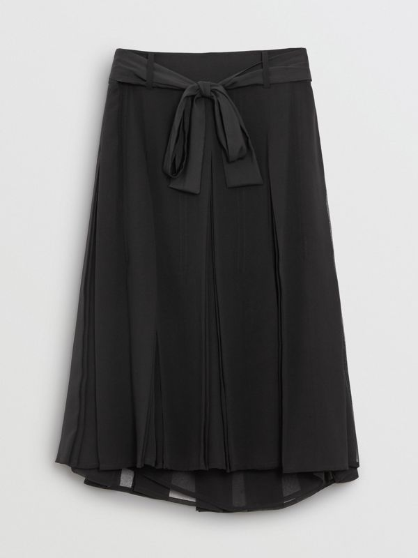 Tie-waist Pleated Georgette Skirt in Black - Women | Burberry - cell image 3