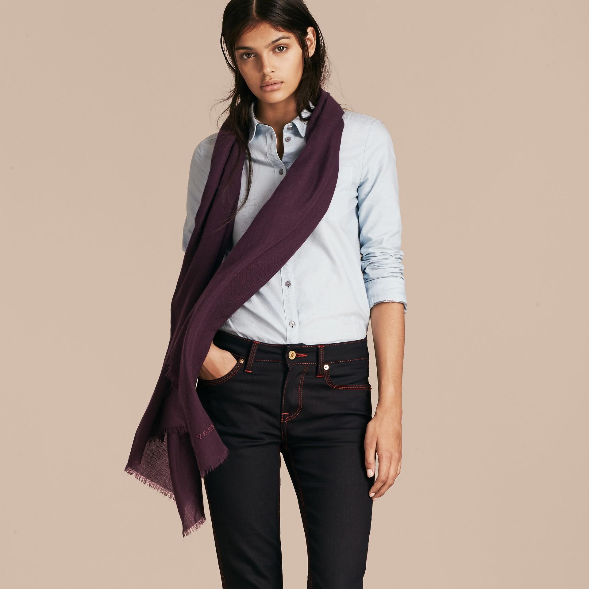 Баклажан Легкий шарф из кашемира Баклажан - изображение 3