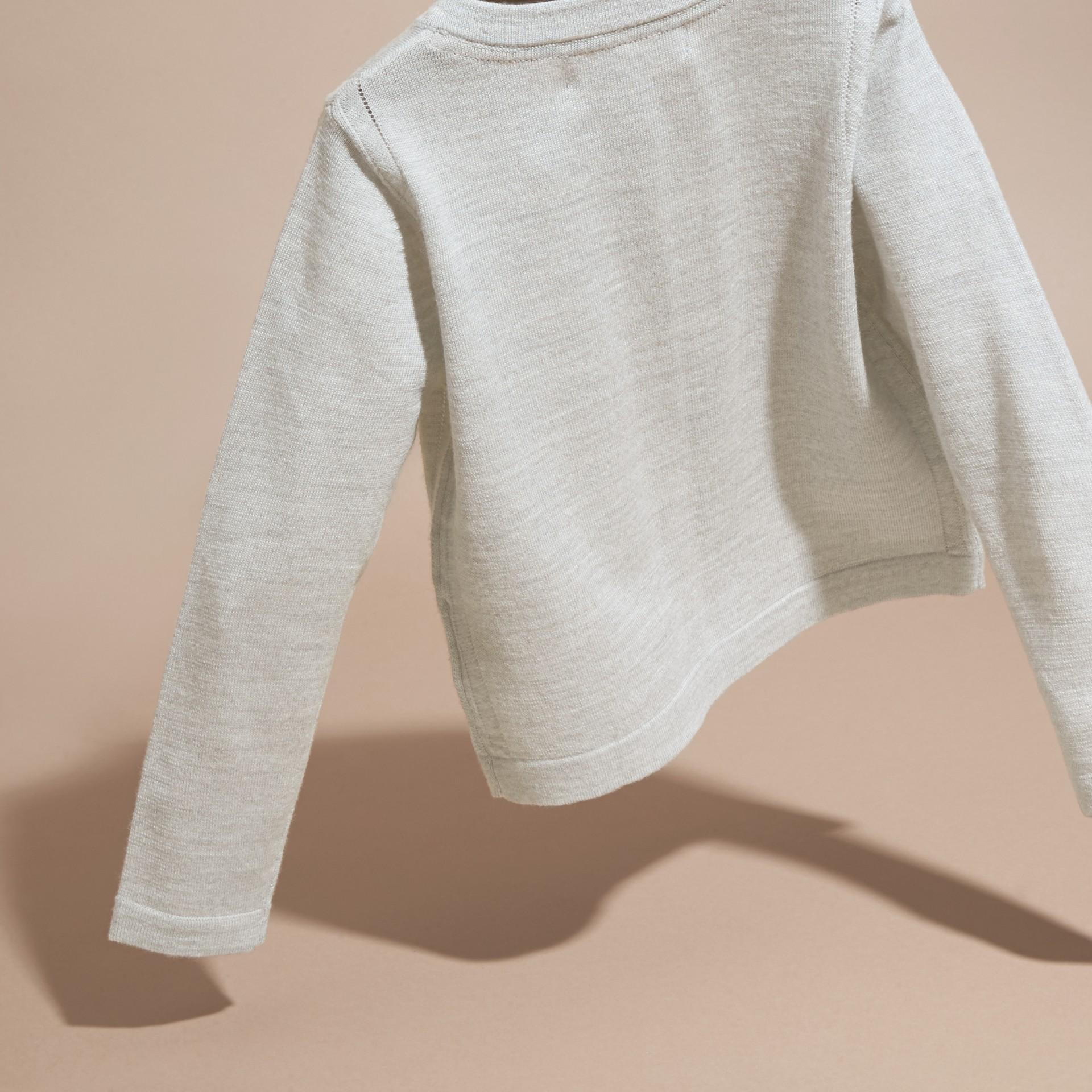 Light grey melange Lightweight Merino Wool Cardigan Grey Melange - gallery image 4