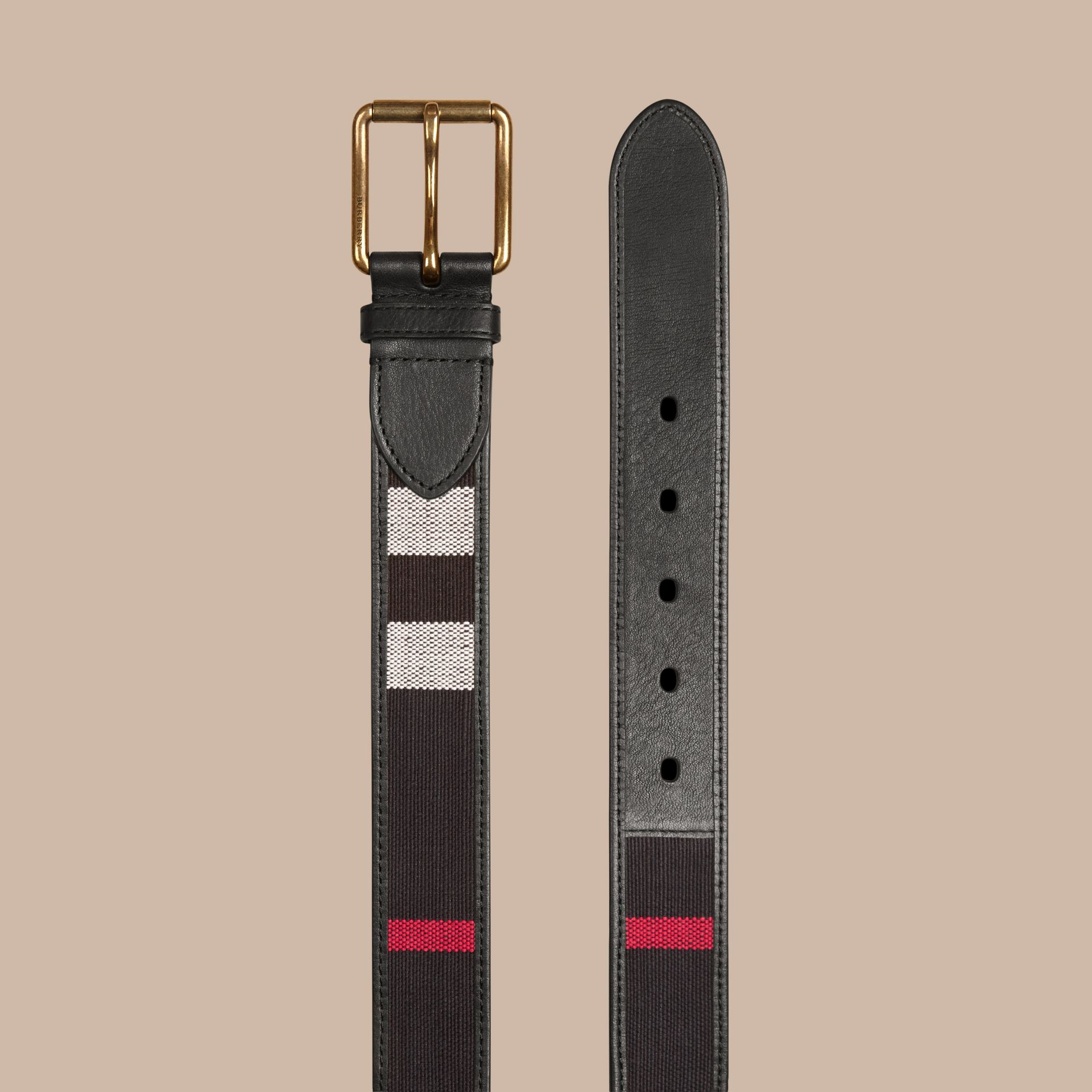 Navy Canvas Check and Leather Belt Navy - gallery image 3